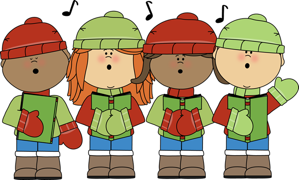 4 kids singing dressed in winter clothing
